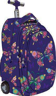 MAJEWSKI Plecak na kółkach fioletowy w kwiaty Street Butterfly