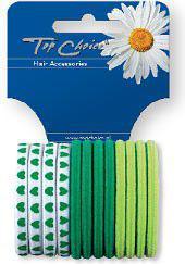 TOP CHOICE Gumki do włosów zgrzewane zielone 12szt 21398