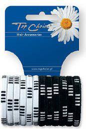 TOP CHOICE Gumki zgrzewane czarne i białe mix 12 szt 21466