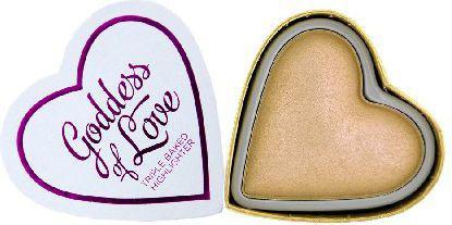 Makeup Revolution I Love Make Up Blushing Hearts Rozświetlacz do twarzy Golden Goddess   10g