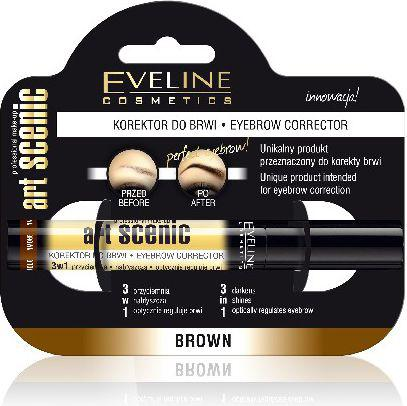 Eveline Art Scenic Korektor do brwi 3w1 brąz  10ml