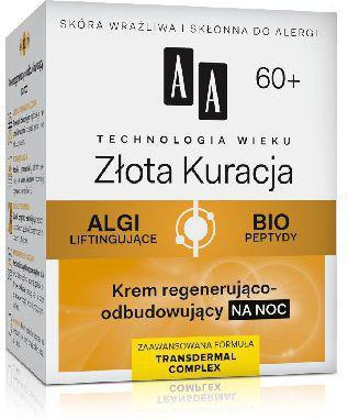AA Cosmetics Technologia Wieku 60+ Złota Kuracja Krem regenerująco-odbudowujący na noc 50ml