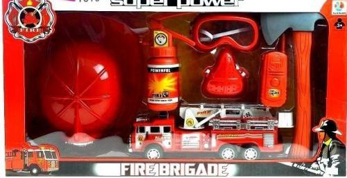 LEANToys Zestaw strażaka STRAŻ POŻARNA wóz + kask + gaśnica