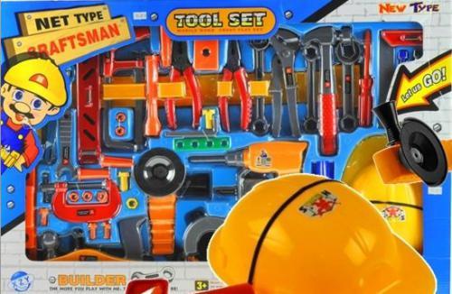 LEANToys Wielki zestaw narzędzi + kask + pas 55 elementów