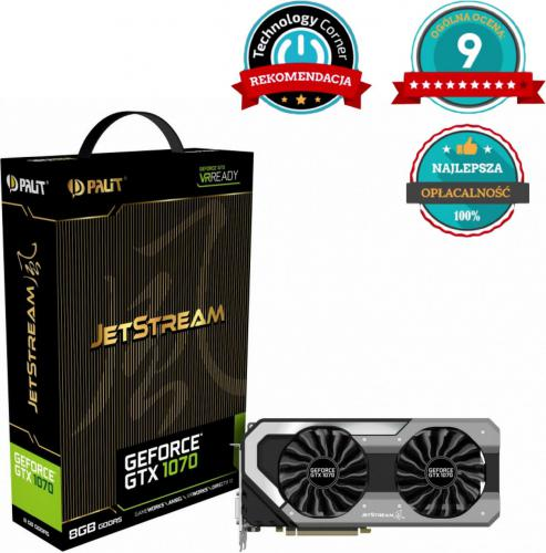 Karta graficzna Palit GeForce GTX 1070 JetStream 8GB GDDR5 (256 bit) HDMI, DVI, 3x DP, BOX (NE51070015P2J)