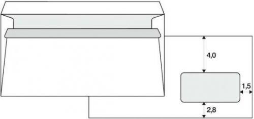 Krpa Koperta samoprzylepna, 110 x 220mm, biała, pocztowa, DL z okienkiem 1000szt.