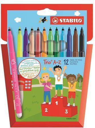 Stabilo Flamastry trójkątne Trio A-Z, 12 kolorów (203554)