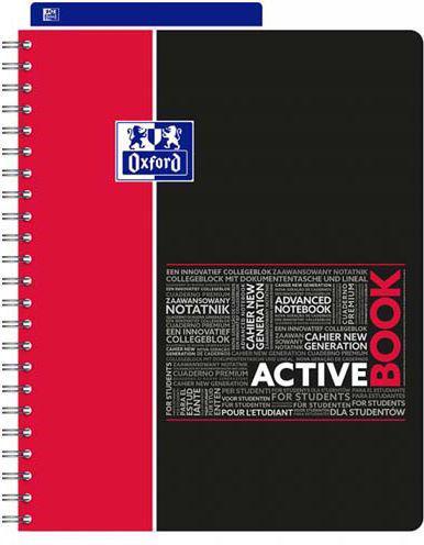 Oxford Kołonotatnik Activebook, A4, 80K, kratka (400019520)
