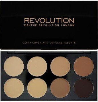 Makeup Revolution Ultra Cover & Conceal Palette Paleta 8 kremowych korektorów Medium Dark 10g