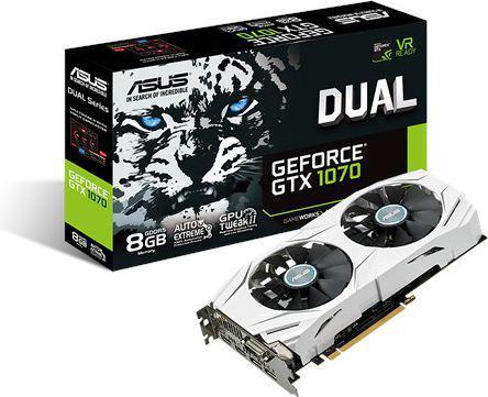 Karta graficzna Asus GeForce GTX 1070 DUAL 8GB GDDR5 (256 Bit) DVI, 2xHDMI, 2xDP, BOX (DUAL-GTX1070-8G)