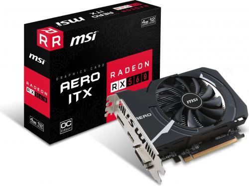 Karta graficzna MSI Radeon RX 560 AERO OC 4GB GDDR5 (128 bit), DVI-D, HDMI, DisplayPort, BOX (RX 560 AERO ITX 4G OC)