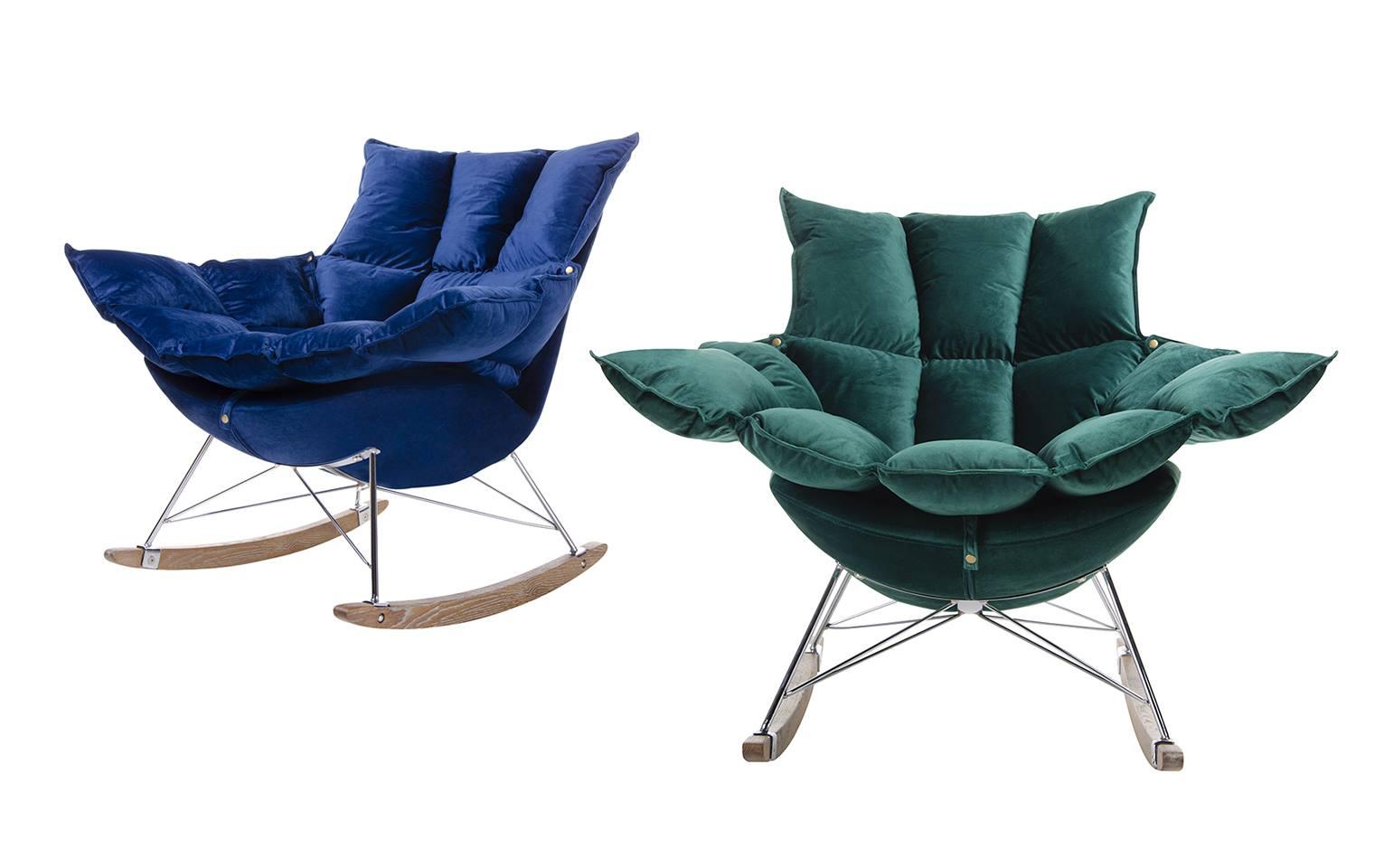Fotele welurowe bujane